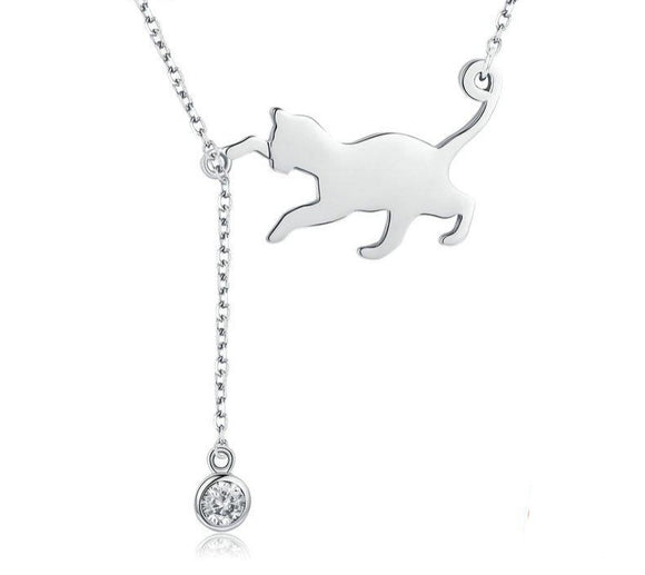 Silver Cat Chain Necklace