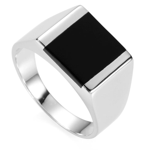 Black Square Signet Ring for Men in 925 Sterling Silver