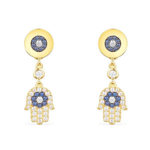 Evil eye Hamsa Hand Stud Earrings in Gold Plated 925 Sterling Silver