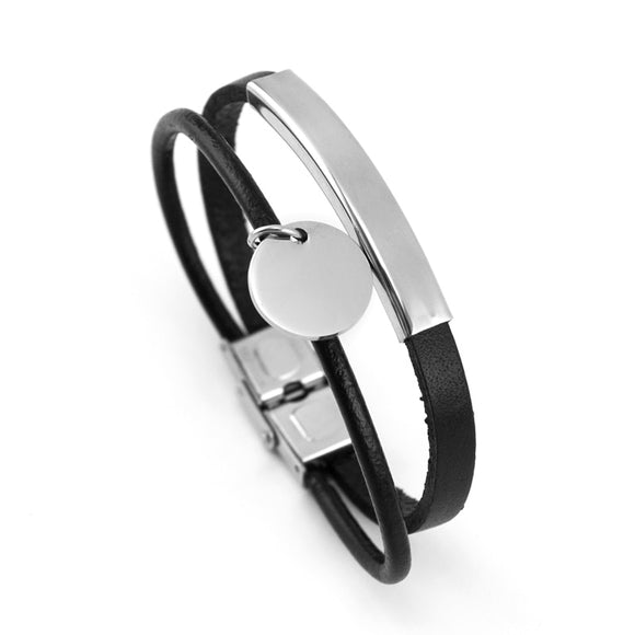 Men's ID Leather Bracelet with Stainless Steel