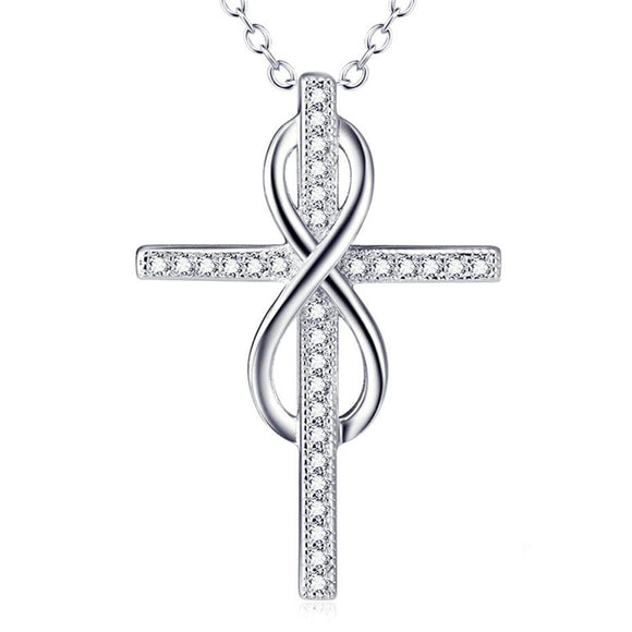 Silver Infinity Cross Necklace