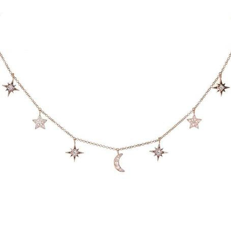 Moon and Star Choker Necklace in 925 Sterling Silver