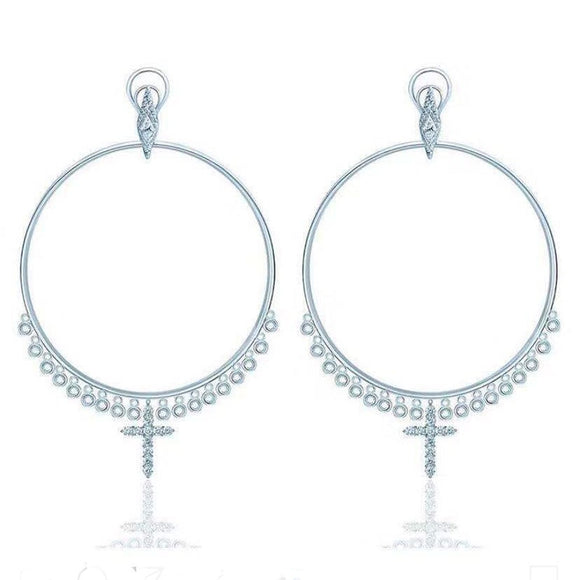 SLJELY Fashion Real 925 Sterling Silver Waterdrop Crystal Tassel Hoop Earrings with Cross for Women Luxury Brand Jewelry Gift