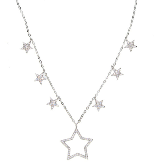 Multi Star Necklace in 925 Sterling Silver