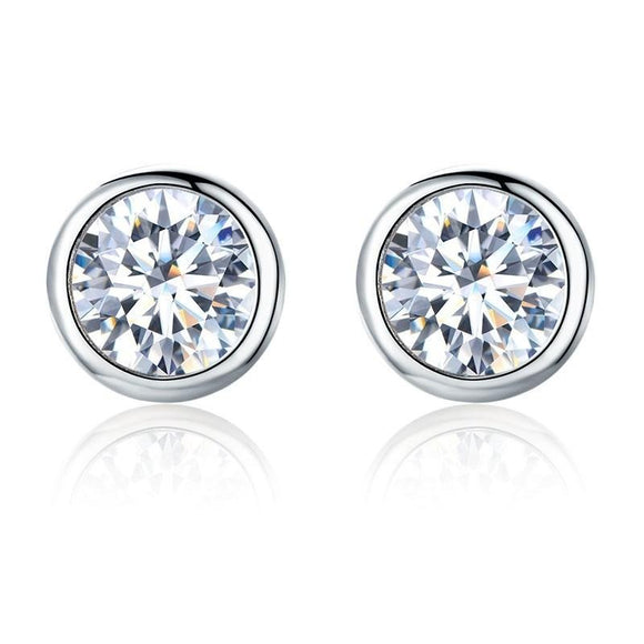 Round CZ Stud Earrings in 925 Sterling Silver