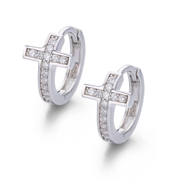 Cross Huggie Hoop Earrings in 925 Sterling Silver
