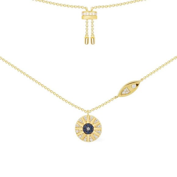 Round star Evil Eye Necklace