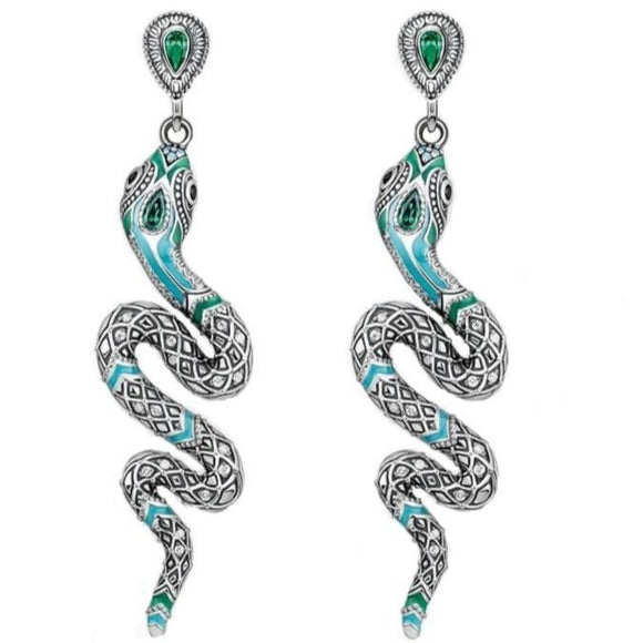 long snake earrings