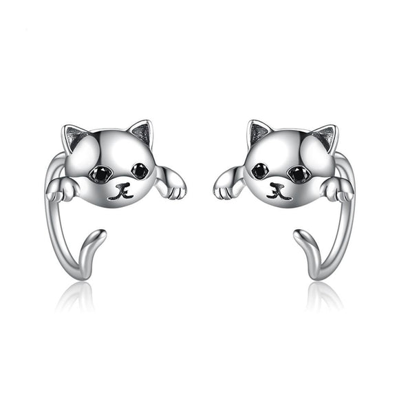 cat design earrings