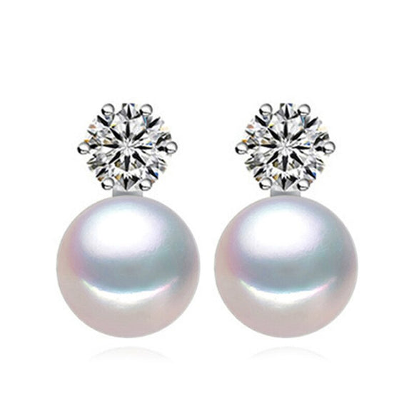 Pearl Stud Earrings in 925 Sterling Silver with CZ