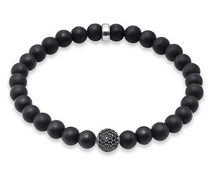 Black Obsidian Bead Men's Bracelet in 925 Sterling Silver