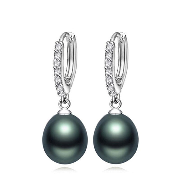 Pearl Hoop Earrings in 925 Sterling Silver with CZ