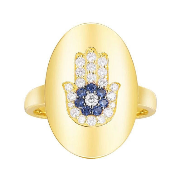 Hamsa and evil eye ring