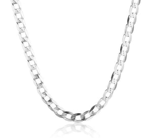 Slim Mens Curb Chain Necklace in 925 Sterling Silver