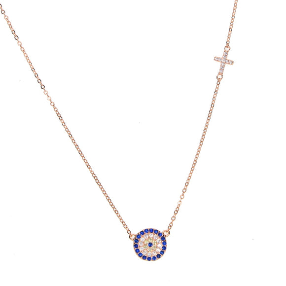 evil eye necklace rose gold
