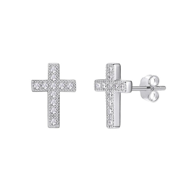 Cross Stud Earrings in 925 Sterling Silver With Cubic Zirconia