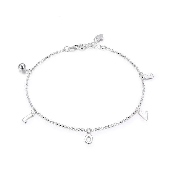 LOVE Chain Anklet in 925 Sterling Silver