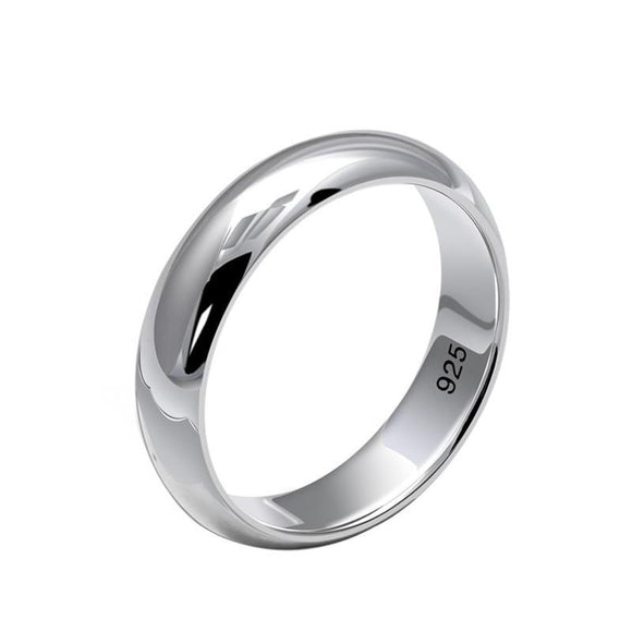 Plain Solid 925 Sterling Silver Wedding Band Ring for Men Women 4.5mm Size 6-10