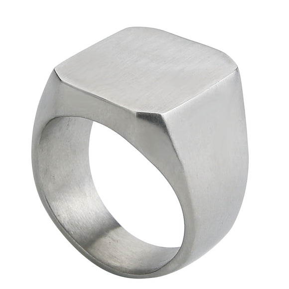 Geometric Signet Ring for Men in 316L Stainless Steel