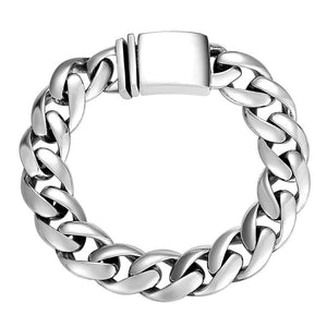 Solid Men's Curb Chain Bracelet in 925 Sterling Silver