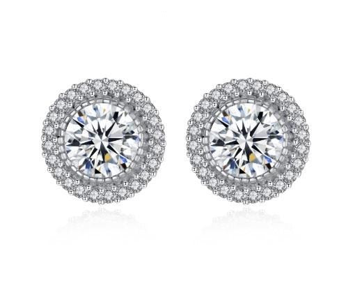 round halo stud earrings
