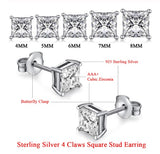Square CZ Stud Earrings in 925 Sterling Silver