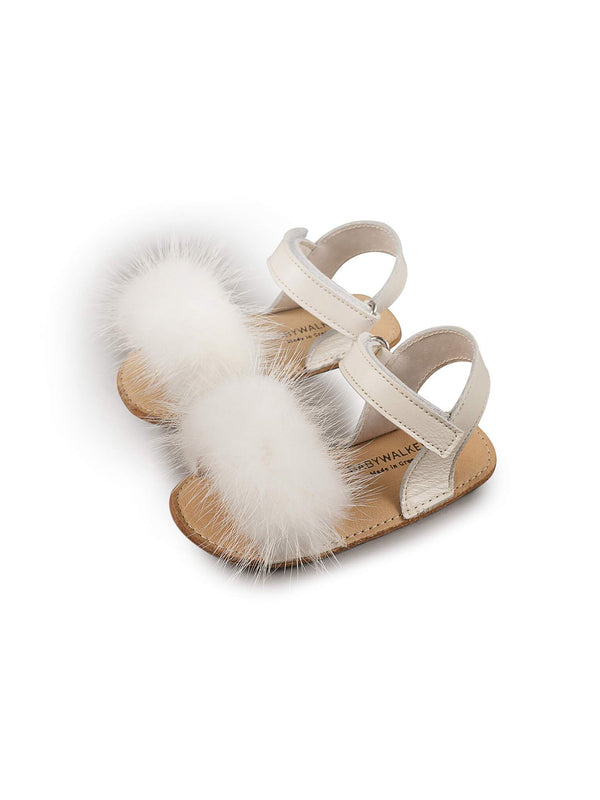 Bébé - Babywalker Mink Fur Embellished Leather Sandals