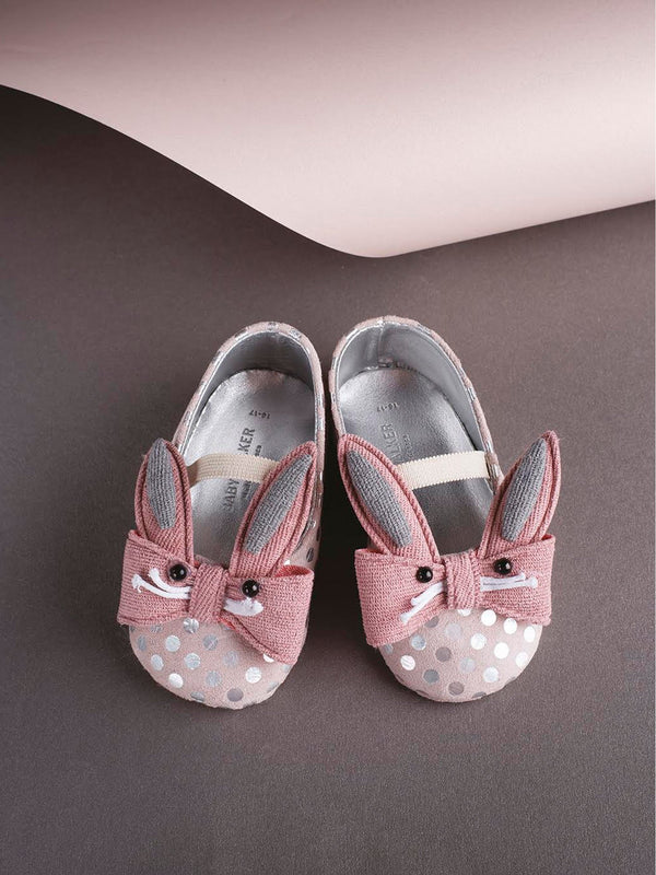 Bébé - Babywalker Rabbit Bow Embellished Leather Ballerinas