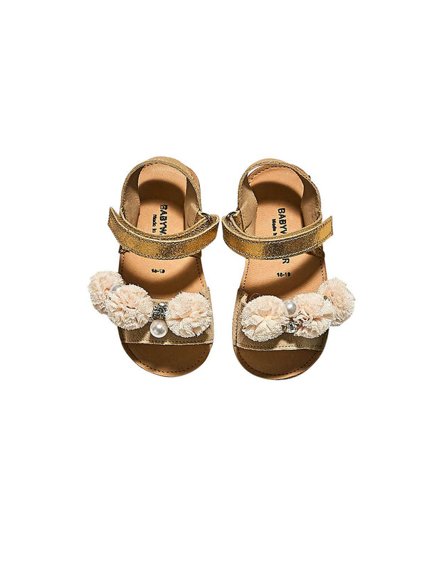 Pom-Pom & Pearls Embellished Leather Sandal