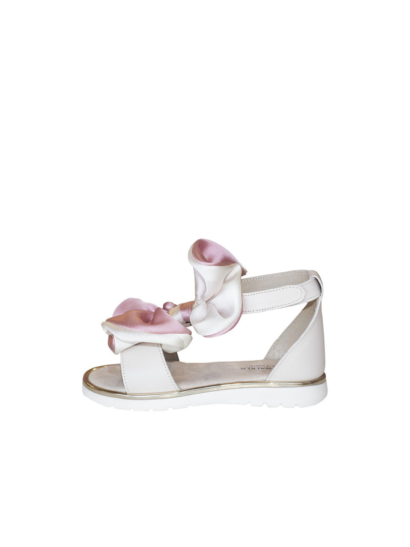 Two-Tone Bow Embellished Leather Sandal