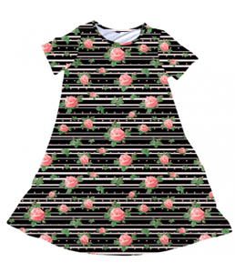 Penelope Dress Black Striped Rose