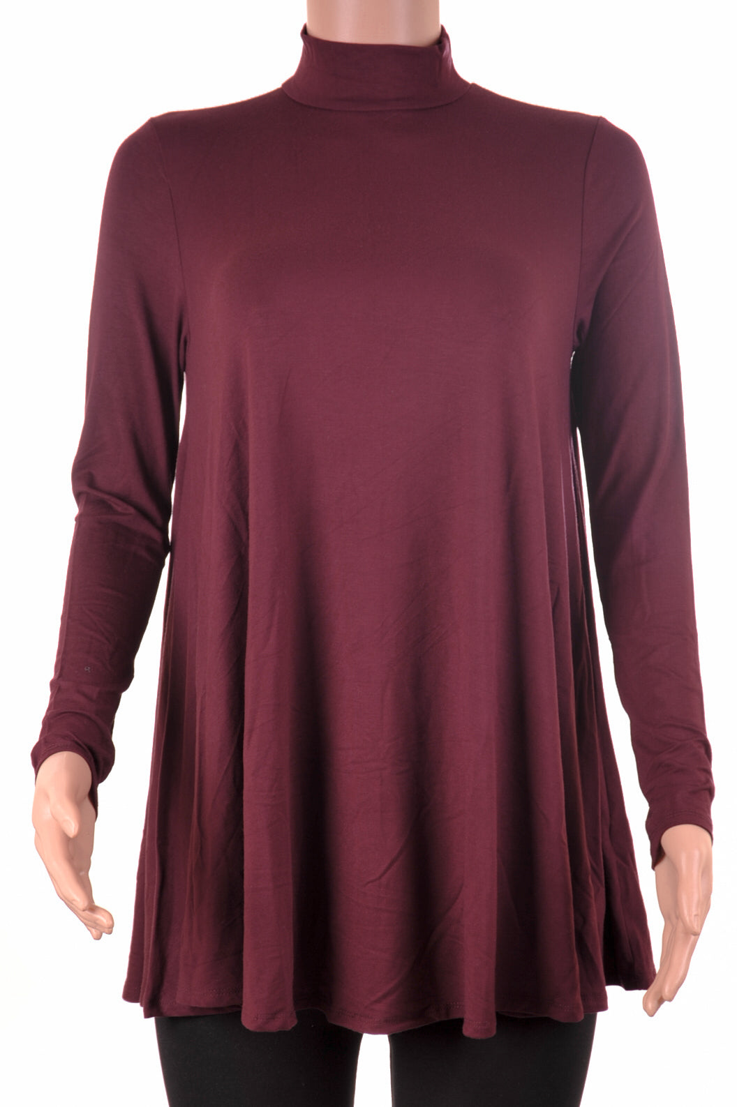 Long Sleeve Mock Neck Tunic Wine