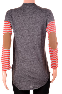 Striped Sleeve Long Sleeve Crew Neck Top Black/Gray
