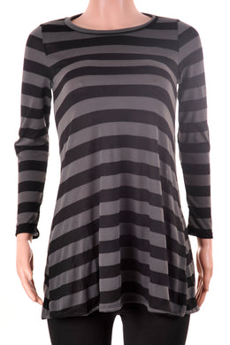Striped Long Sleeve Crew Neck Top Black/Olive
