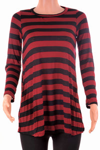 Striped Long Sleeve Crew Neck Top Black/Red