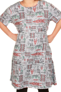 Penelope Dress Gray Blue Aztec