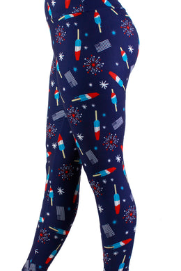 Bomb Pops Red White Blue Designer Legging