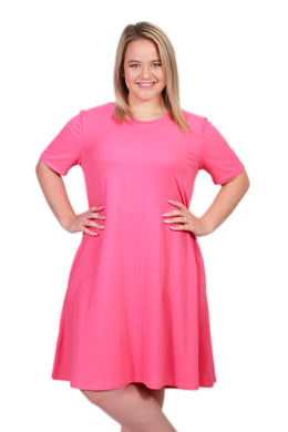 Solid Pink Peneolpe Dress