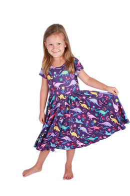 Bright Dinosaurs Bailey Dress