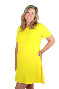 Solid Yellow Peneolpe Dress