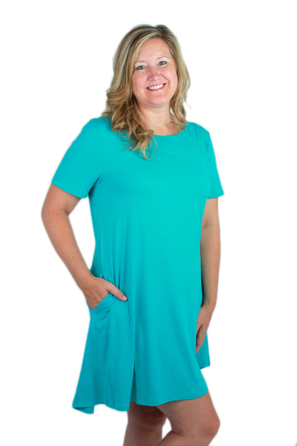 Solid Teal Peneolpe Dress