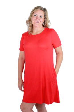 Solid Red Peneolpe Dress