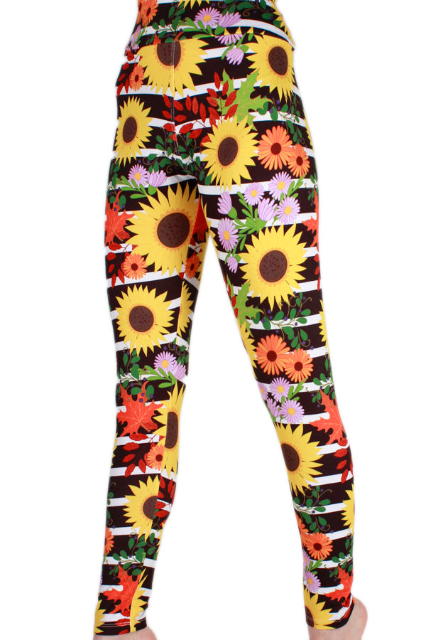 Striped Sunflowers Designer Legging