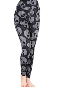 Black and White Sugar Skulls Designer Legging