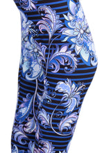 Load image into Gallery viewer, Blue Striped Floral Designer Legging