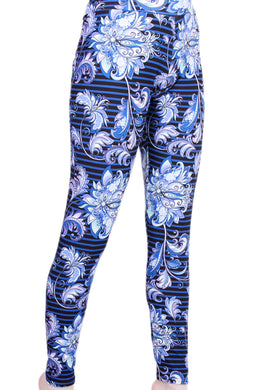 Blue Striped Floral Designer Legging