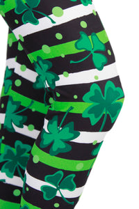 Lucky Shamrock Stripes Designer Legging