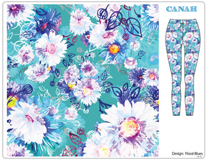 Floral Blues Designer Legging