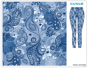 Spring Blue Birds Designer Legging
