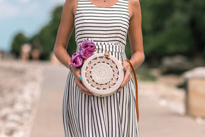 Patterned round rattan bag